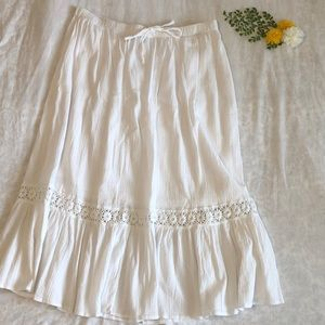 Boho white long skirt
